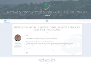 """Plateforme de consultation pour l'élargissement du rapport """"Vers un modèle français de la ville intelligente"""""""